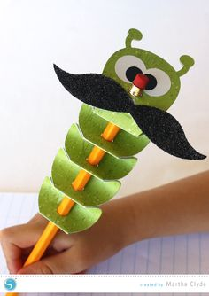 Inchworm Pencil Topper - a fun Back to School project | Silhouette CAMEO or Portrait project