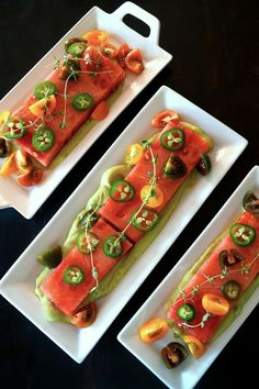 Compressed Watermelon Salad with Creamy Lemon-Lime Avocado Dressing on three narrow, white, rectangular plates. Watermelon Sorbet, Watermelon Recipes, Avocado Recipes, Raw Food Recipes, Appetizer Recipes, Cooking Recipes, Appetizers, Cooking Avocado, Creamy Avocado Dressing