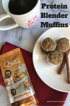Easy Protein Blender Muffins with Cinnamon Crunch flavor- using Quest Cinnamon Crunch Protein Powder. Make ahead and enjoy all week!