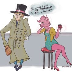 Vincent Adultman and Princess Caroline hanging out at the bar. Bojack Horseman.