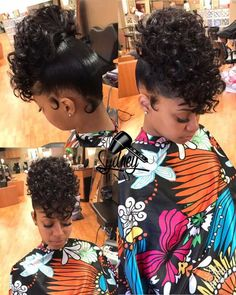 Curly high ponytail Hair styles Curly hair styles, Hair styles ponytail styles for short natural hair - Natural Hair Styles Black Girl Updo Hairstyles, Dope Hairstyles, My Hairstyle, Ponytail Hairstyles, Curly Haircuts, Teenage Hairstyles, Hair Ponytail, Black Updos, Bangs Updo