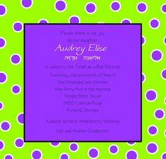Lime green and Purple Bat Mitzvah invite