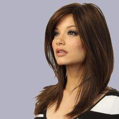 Full Womens Ladies Synthetic Hair Wig Medium Long Dark Brown Natural Straight