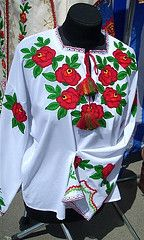 This cute Ukrainian blouse with floral embroidery was for sale at the Second West Ukrainian Tourism Festival in the city of Ternopil, West Ukraine, on May Floral Embroidery, Ukraine, Christmas Sweaters, Floral Design, Blouse, My Style, Folk Art, Traditional, Costumes