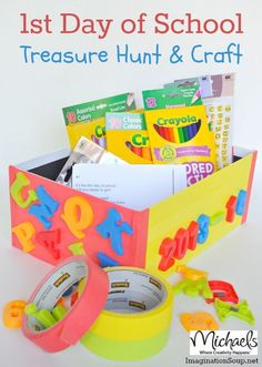 Day of School Treasure Hunt (free printable) and Craft This could make a fun first day of school activity for homeschool or public/private school. First Day Of School Activities, 1st Day Of School, Beginning Of The School Year, School Fun, School Teacher, School Days, School Snacks, Childhood Education, Kids Education