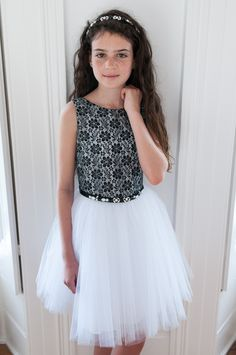 BLACK FLORAL AND WHITE TULLE PARTY DRESS