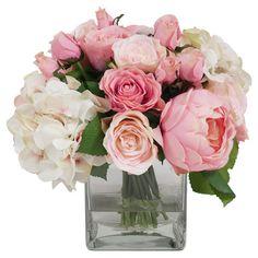 Faux Rose & Hydrangea in Vase - Joss & Main