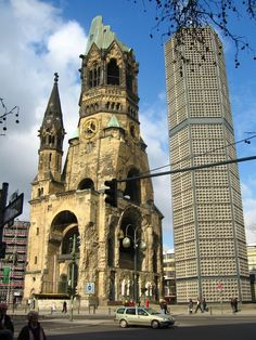 Berlin, Germany - Kaiser Wilhelm Memorial Church (in German: Kaiser-Wilhelm-Gedächtniskirche) The damaged church has been retained and the inside turned into a memorial hall.