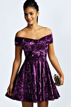 Niami Velvet Skater Dress at boohoo.com