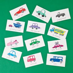 vehicle cards for car trips- can you spot each type on the road