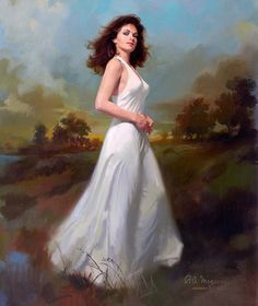 """Robert Maguire    This is the type of beautiful lady that often appears on the covers of romance novels. I suspect this to be the case here. The painting was on the cover of the book """"Laura"""" by Vera Caspary."""