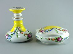 Namsey Cologne Bottle and Powder Box Vintage 2 Piece Hand Painted Porcelain Dresser Set Beautiful Cottage Chic by WhatnotsAndFancifuls on Etsy
