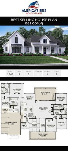 A gorgeous 1 story Modern Farmhouse home Plan 04100169 offers 2742 sq ft 4 bedrooms 35 bathrooms a bonus room nook and an open floor plan Modern Floor Plans, Modern Farmhouse Plans, Farmhouse Homes, Farmhouse Decor, Farmhouse Bedrooms, Farmhouse Style, Farmhouse Design, Farmhouse Interior, Farmhouse Ideas