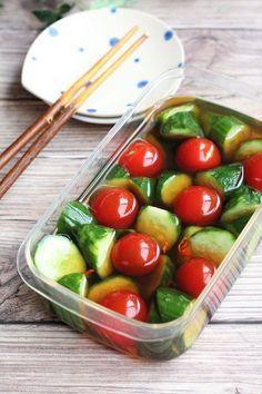きゅりとトマトのだし漬け by 野島ゆきえ 「写真がきれい」×「つくりやすい」×「美味しい」お料理と出会えるレシピサイト「Nadia | ナディア」プロの料理を無料で検索。実用的な節約簡単レシピからおもてなしレシピまで。有名レシピブロガーの料理動画も満載!お気に入りのレシピが保存できるSNS。 Healthy Cooking, Healthy Dinner Recipes, Healthy Eating, Cooking Recipes, Good Food, Yummy Food, Food Plating, No Cook Meals, Vegetable Recipes