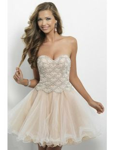Empire Sweetheart Tull and Beading Short Prom Dress