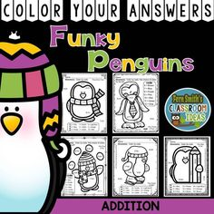 Funky Penguins Addition Facts - Color Your Answers Printables for Winter Addition, perfect for winter time in your classroom. Time to mix up the colors so the students can't predict the answers. FIVE No Prep Printables that can be used for your math center, small group, RTI pull out, seat work or homework. #TpT #FernSmithsClassroomIdeas