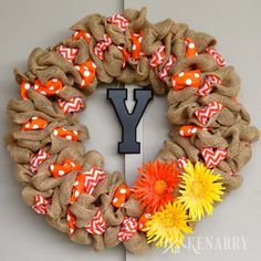This is great! Easy step-by-step tutorial teaches how to make a burlap wreath using two different accent ribbons. Beautiful craft for holiday and everyday home decor!