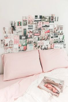 Aesthetic collage dorm room ideas travel pink and black Picture Wall, Photo Wall, Teen Room Decor, Aesthetic Bedroom, Aesthetic Collage, Aesthetic Pictures, Pink Room, Room Pictures, Pink Walls