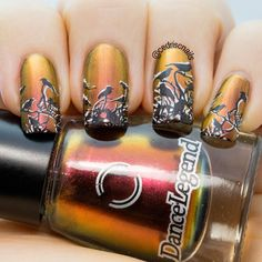 Sunset nails. Base polish is Boo by Dance Legend. I double stamped the image from Messy Mansion MM14.