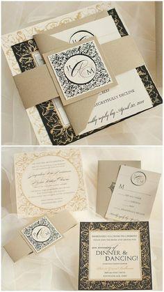 golden und schwarz Klappkarten mit Muster Einladung zur Hochzeit  Goldene Hochzeit Inspiration Stylish, Glänzend und Romantisch
