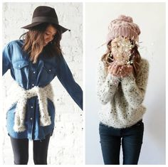 Raga Beige Eyelash Sweater 2-ways. Shop both looks on: http://lilyandviolet.com 20% off today only!