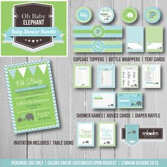 Oh Baby Elephant Baby Shower Bundle Party by MKKMDesigns on Etsy, $23.00