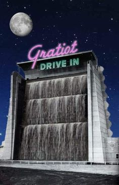 Gratiot Drive In near Detroit combined neon with a  water feature