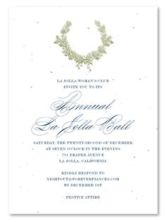Holiday Gala Invitations on seeded paper ~ Oak Wreath by Green Business Print - Gala İnvitation Gala Invitation, Art Deco Invitations, Corporate Invitation, Business Invitation, Holiday Party Invitations, Unique Wedding Invitations, Invitation Wording, Green Business, Cover Letter Sample