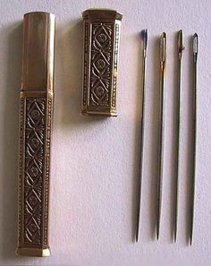 Antique French 18K Gold Needle Case (Etui) w/Fitted Leather Case; Circa 1790
