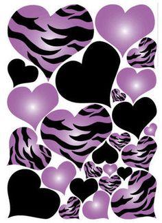 Hearts Purple Black Zebra Print Wall Stickers 25 Big Decals Animal Love Teen | eBay