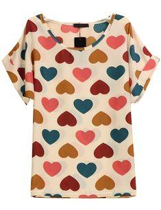 White Short Sleeve Hearts Print Chiffon Blouse - Sheinside.com