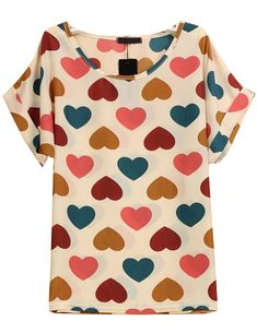 White Short Sleeve Hearts Print Chiffon Blouse 9.99