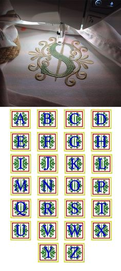 Fancy Block Monogram Alphabet design set available for instant download at www.designsbyjuju.com