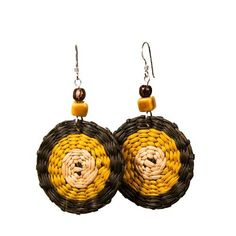 Yellow and Brown Iraca Fiber Disc Earrings - Silver Randall V Designs, http://www.amazon.com/dp/B00ANFR0VY/ref=cm_sw_r_pi_dp_.LRYqb0PBYNV4