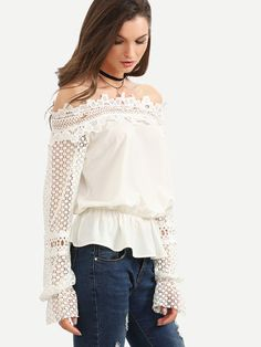 0e43a17fef0f60 White Off The Shoulder Crochet Sleeve Blouse -SheIn(Sheinside) White Off  Shoulder