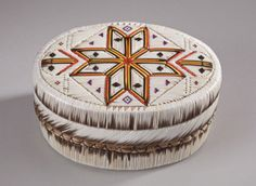 Porcupine Quill Box-Oval Geometric- Star Fish by Melvin Losh (Leech Lake Band of Ojibwe), 2011.