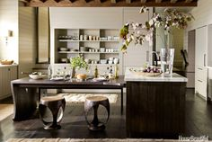 Natural wood inspired kitchen and breakfast bar by Ruard Veltman for House Beautiful.