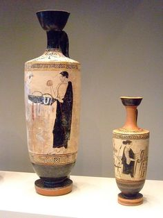 Greek Oil Jars made in Athens about 460 BCE Terracotta White-ground lekythos
