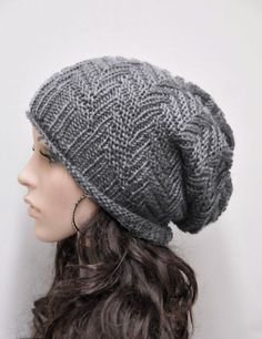 d265802f96e2f Hand knit hat Charcoal Chunky slouchy Wool Hat wool hat - ready to ship