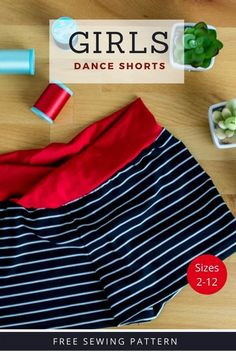 This is the Girls Dance Shorts FREE sewing pattern, an easy dance shorts sewing pattern that comes in sizes 2-12. That pattern includes easy to follow instructions and photos describing and showing every step of the process. The main part of these dance shorts can be made with any light to mid-weight knit fabric that has a two-way or four-way stretch. The waistband must be made with dance or swimsuit material that contains spandex. This will very much help keep the shorts on. Swimsuit Fabric, Swimsuit Material, Swimsuit Pattern, Sewing Patterns For Kids, Knit Patterns, Easy Dance, Dance Uniforms, Sewing Pants, Dance Shorts