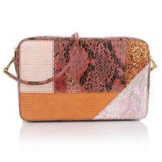 Stella McCartney Waverly Shoulder Bag Patchwork Orange Handtaschen #kunstleder #Pythonlook #orange #rosé #schwarz #glitzer #goldfarbene logoanhänger