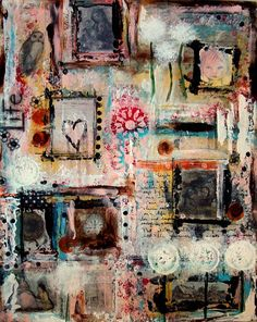all the layers and messy color...be still my ♥. Abstract Painting Mixed Media Original by GlitterNGrungeStudio.