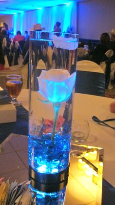 This is what I wanna do for my wedding for a centerpiece. But have three or two at every table, mabe a diff flower