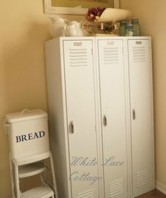 Shabby French Farmhouse Home Tour. i would love some painted lockers for an entryway/mudroom