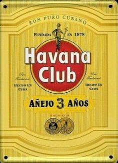 #Havana_Club Rum (yellow) metal postcard