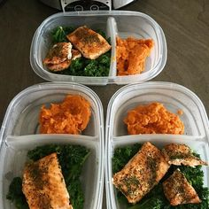 A little #mealprepsunday underway this weeks goal is all about NUTRITIONAL BALANCE so I'm making sure that my meals include protein carbs fat vitamins and minerals. All meals and snacks are not pictured here but here is my dinner for the next three days Garlic pepper salmon with spiced mashed sweet potatoes and spicy steamed kale Im a boring eater  I don't have a problem eating the same foods daily because it helps me stay on track. Meal prep doesn't have to be complicated. Focus on finding…