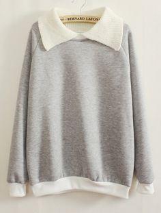 Grey Contrast Knit Lapel Long Sleeve Sweatshirt GBP£15.96