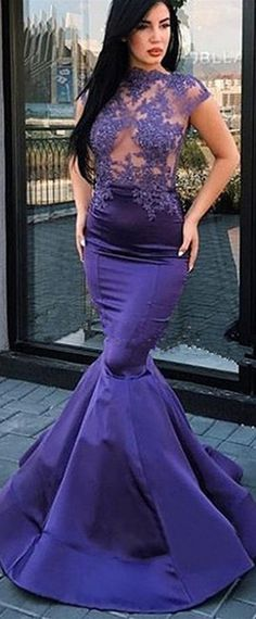 Chic Satin High Collar Neckline Cap Sleeves Mermaid Prom Dress With Beaded Lace Appliques