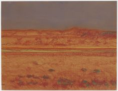 "Richard Artschwager, ""Bushes in Orange Field"" (2011), pastel on orange paper (all images courtesy David Nolan unless otherwise noted)"