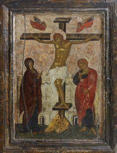"""Crocifissione di Cristo; secolo XV.; Grecia. - Ortodossa workshop """"Icona russa"""""""